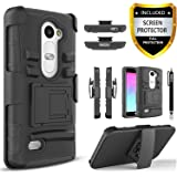 LG Leon Case, LG Sunset Case, LG Power Case, LG Destiny Case, LG Risio Case, [Combo Holster] Phone Cover with [HD Screen Protector] Built-in Kickstand and Belt Clip + Circlemalls Stylus Pen -Black