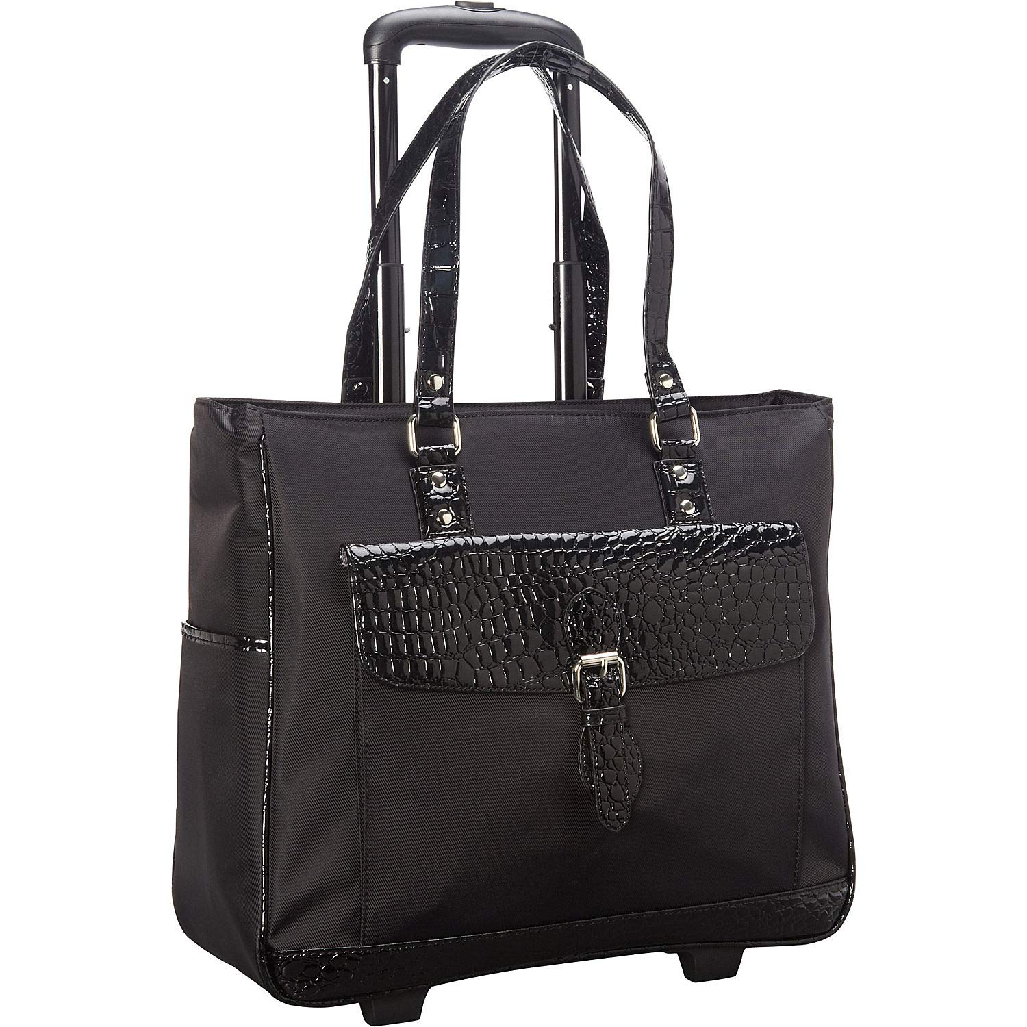 Heritage Travelware Women's Lake View Nylon Twill 2-Wheeled 17'' Laptop & Tablet Business Tote Carry-On, Black by Heritage Travelware