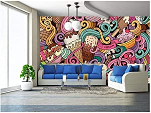 wall26 - Cartoon Hand-Drawn Ice Cream Doodles Seamless Pattern - Removable Wall Mural | Self-Adhesive Large Wallpaper - 100x144 inches