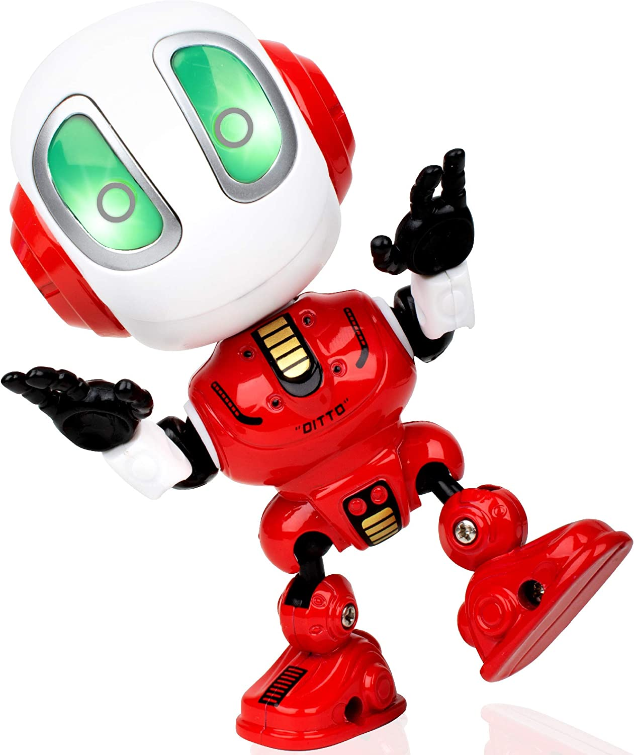 Ditto Mini Talking Robots for Kids w// Posable Body Bright LED Toys Interactive Voice Changer Robot Travel Toys Green Toy Robots for Boys or Girls