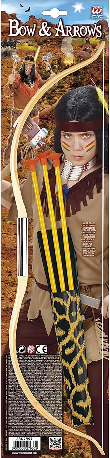 Bow And Arrow Set Fancy Dress Accessory Archer Wooden Effect Wild West Indian