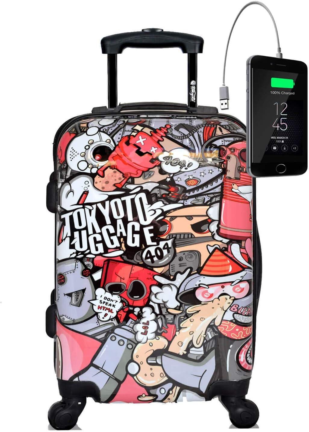 TOKYOTO - Maleta de Cabina Equipaje de Mano, Party Robots, 55x40x20 cm | Maleta Juvenil, Trolley de Viaje Ryanair, Easyjet | Maleta de Viaje Rígida Divertida Abstracta, Colores