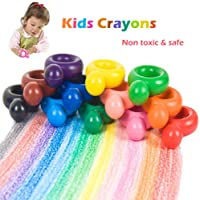 Kids Babies Crayons, 12 Colours Paint Crayons for Toddlers, Child, Adult, Ring Shaped Drawing Wax Crayons Washable and Edible Doodle Toy Gift, Non Toxic & Safe