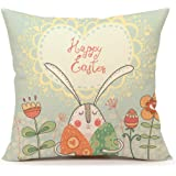 Easter Rabbit with Eggs And Flowers Home Decor Throw Pillow Case Cushion Cover 18 x 18 Inch Cotton Linen