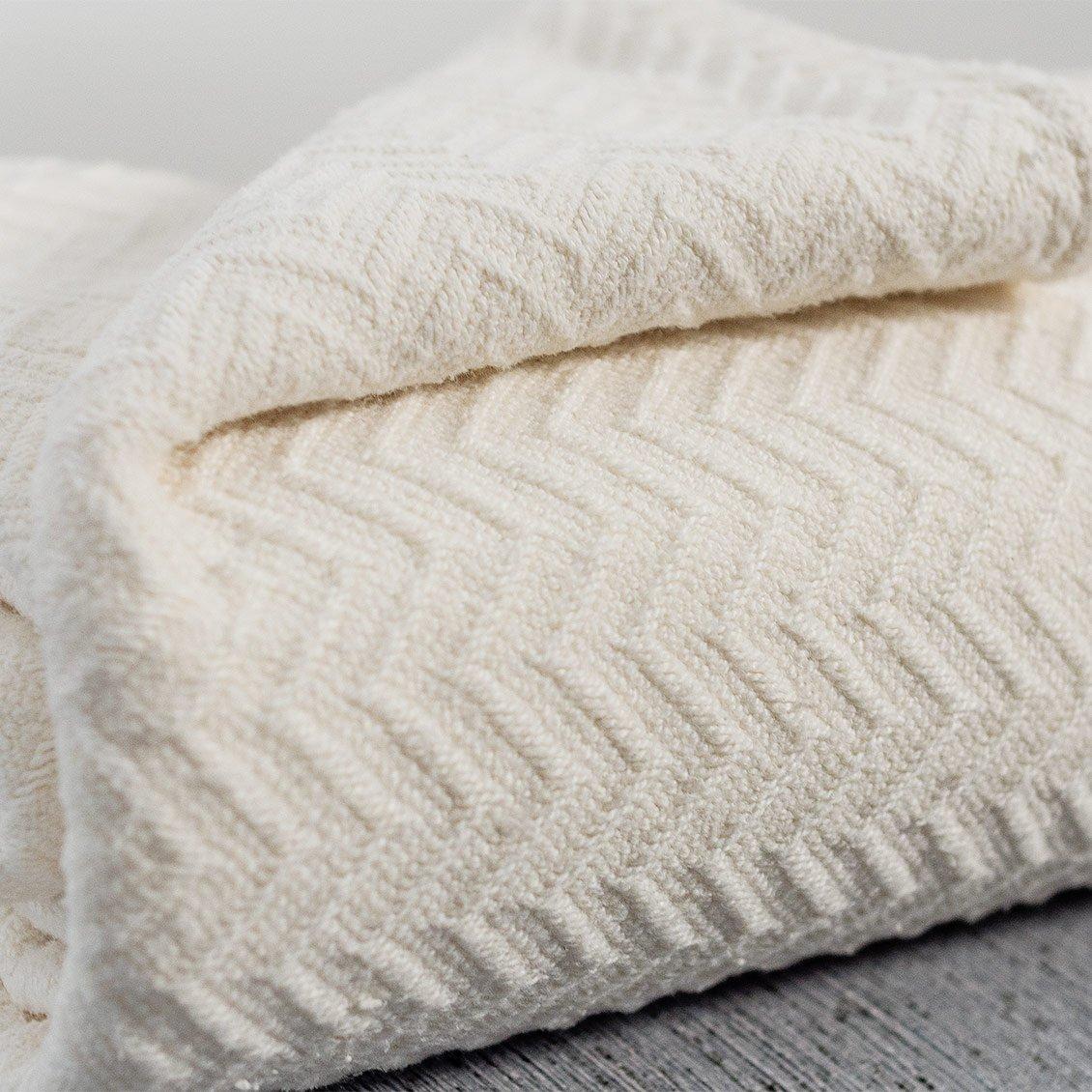 Living Fresh Full Queen Ivory Herringbone Blanket - Super Soft Plush Blanket - Comfy, Lightweight, Woven - Luxury Decorative Blanket - Botanical Blanket