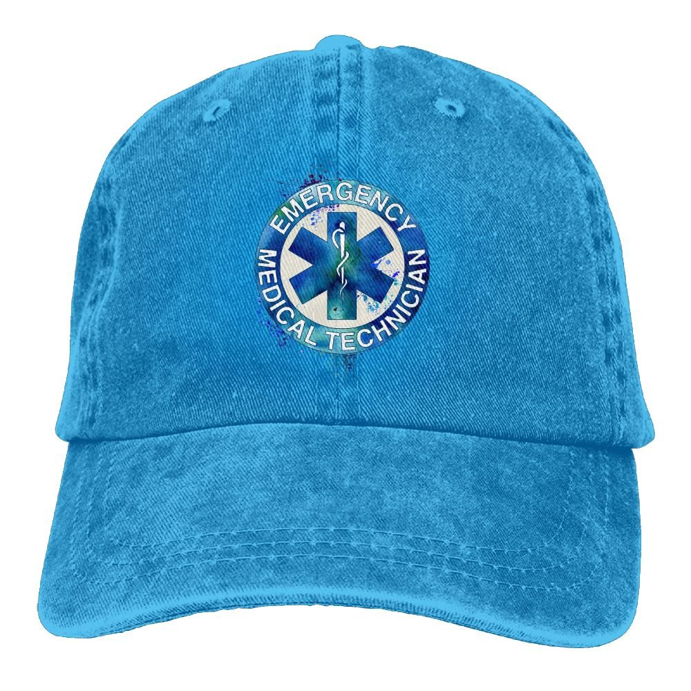 Watercolor EMT Fine Art Print Mens Cotton Adjustable Washed Twill Baseball Cap Hat
