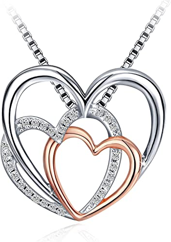 "J.Rosée 925 Sterling Silver Triple Heart Fashion Drop Necklace with 18"" Silver Box Chain Jewelry Gifts"