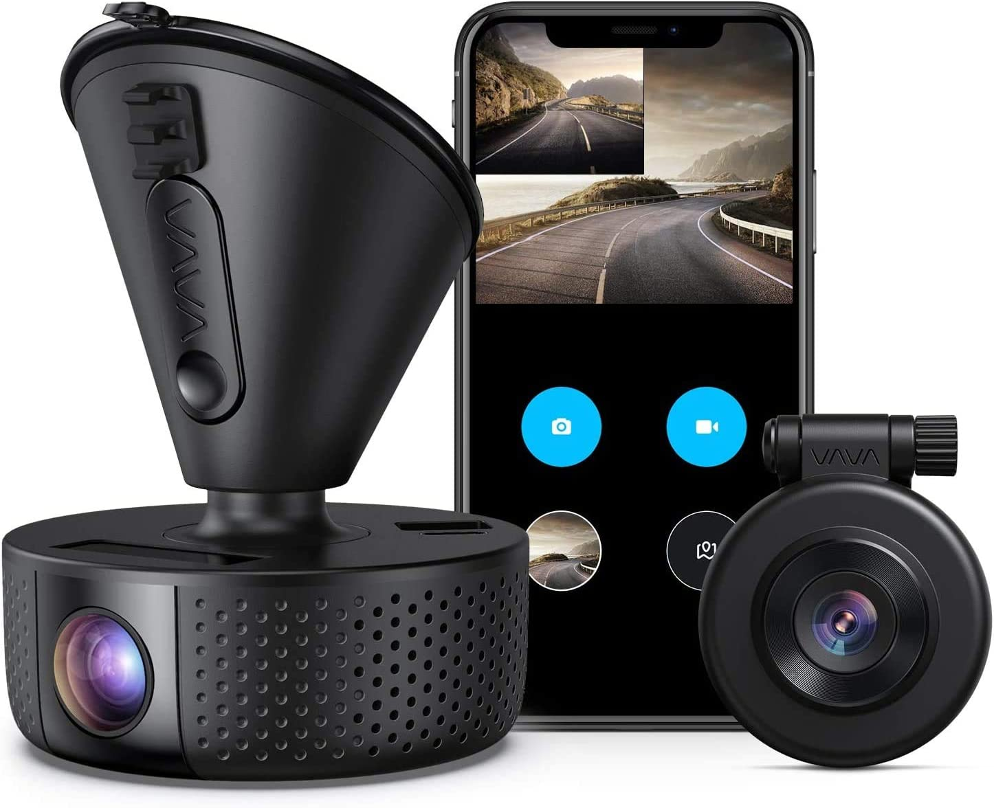 Dual Dash cam   VAVA Dual 1920x1080P FHD   Front and Rear dash camera   2560x1440P Single Front  for cars with Wi-Fi   Night Vision   Parking Mode   G-sensor   WDR   Loop recording  Support 128GB Max