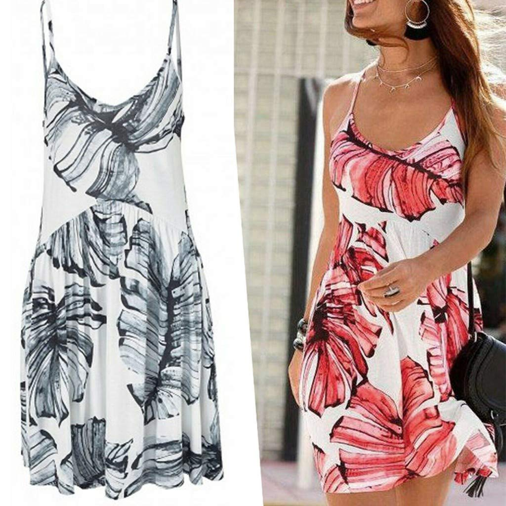 Clothful  Women Dress, Fashion Womens Camisole V-Neck Leaf Printing Sleeveless Mini Dress Gray by Clothful (Image #3)
