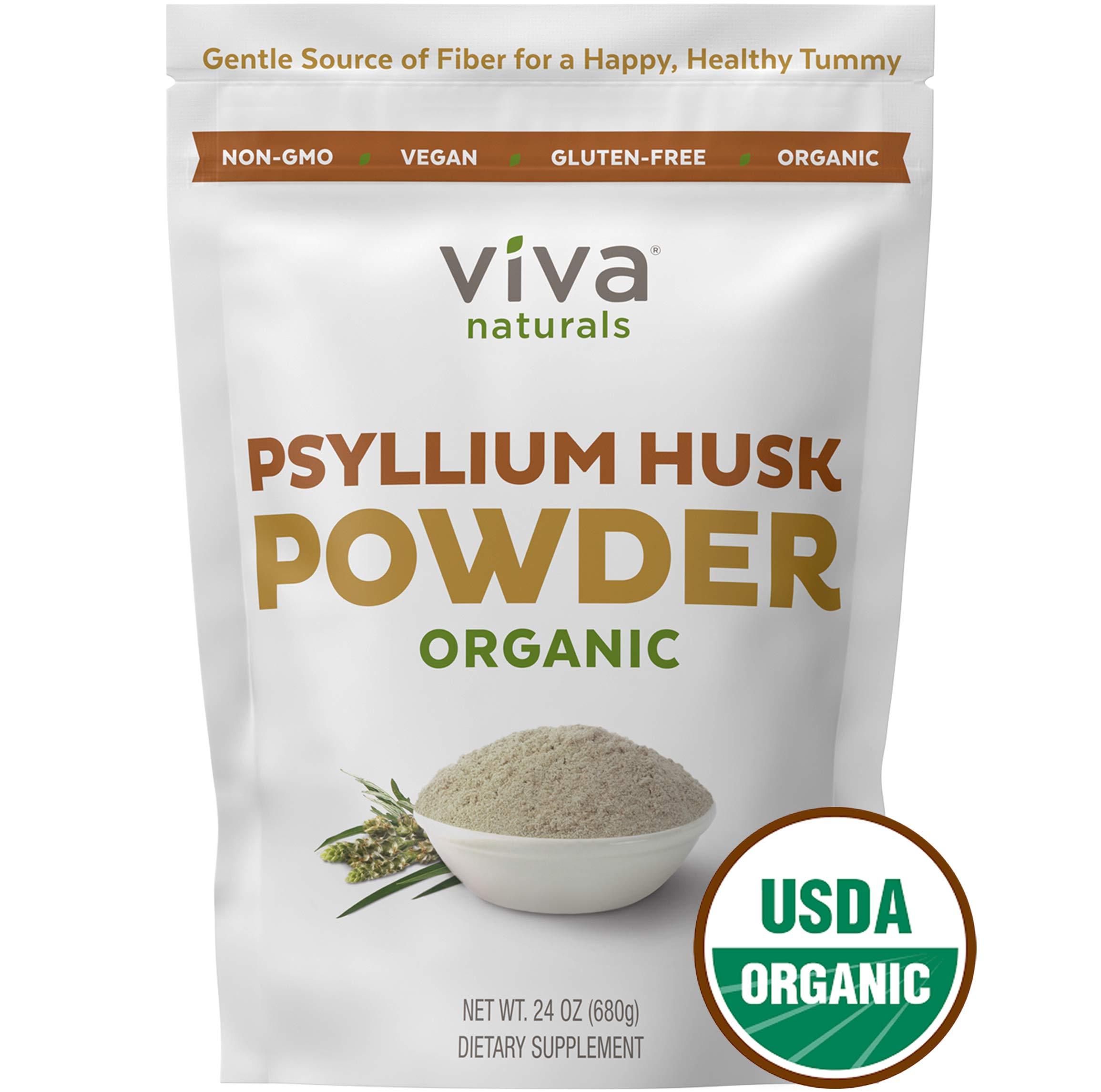 Organic Psyllium Husk Powder; Psyllium Husk Fiber Powder for Baking Keto Bread, Easy Mixing Fiber Supplement for Promoting Regularity, Finely Ground & Non-GMO, 24 oz. by Viva Naturals