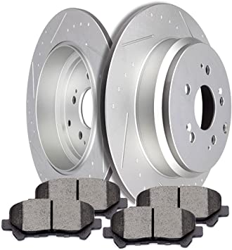 Front Premium Coated Drill/&Slot Brake Rotors Ceramic Pads Fit 14 15 Acura MDX