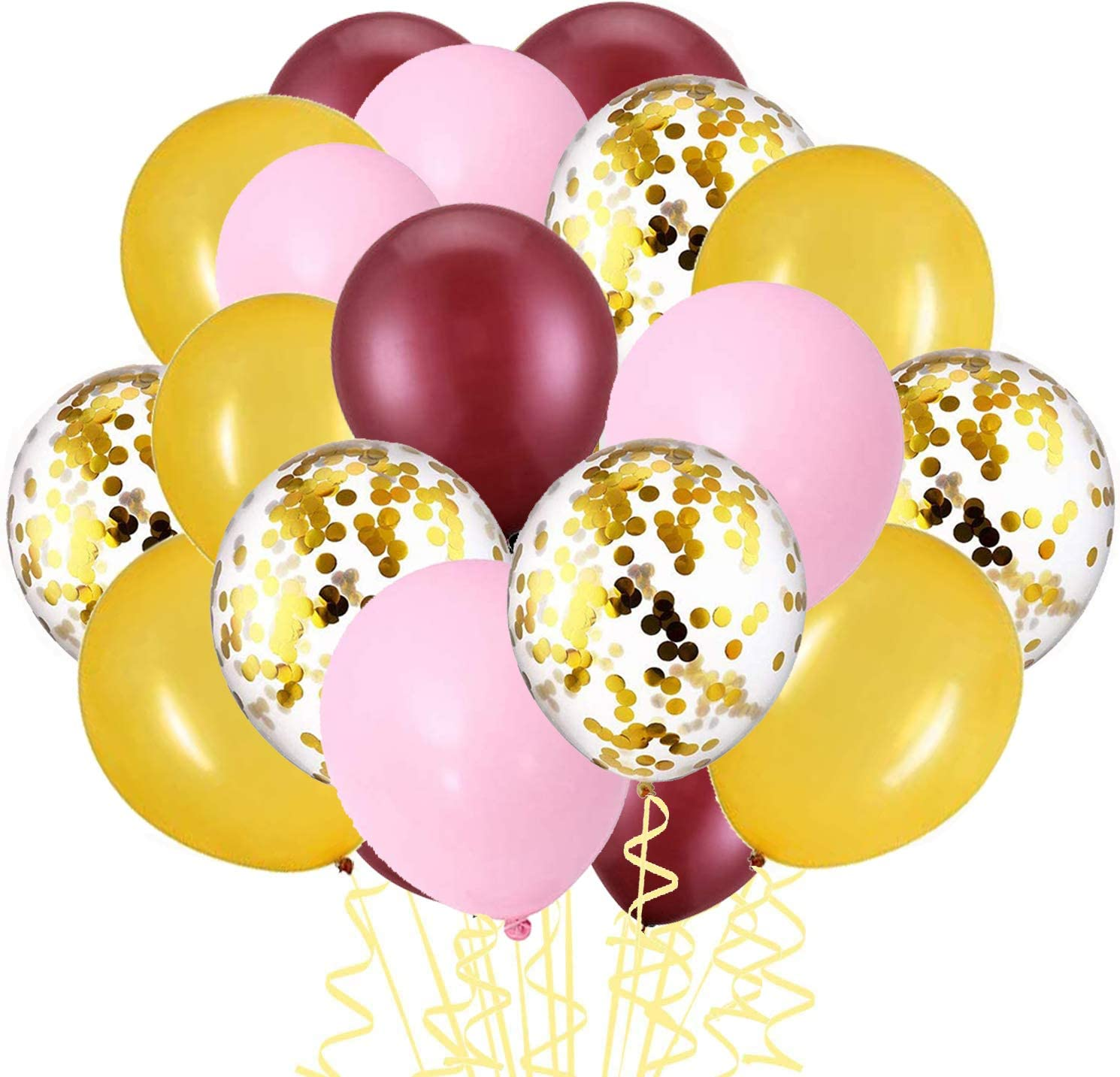 Kubert Burgundy Balloons Pink Gold Confetti Balloons 60 pcs Burgundy and Gold Birthday Party Decorations Burgundy Wedding Decor Wine Red Baby Shower Burgundy Gold Birthday Party Decorations for Women Burgundy Gold Fall Burgundy Birthday Party Supplies/30th/40th/50th Birthday Decorations Autumn