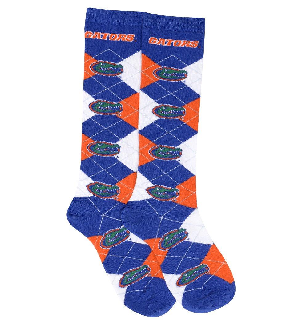 For Bare Feet NCAA Repeat Logo Argyle Knee High Socks-Medium-Florida Gators