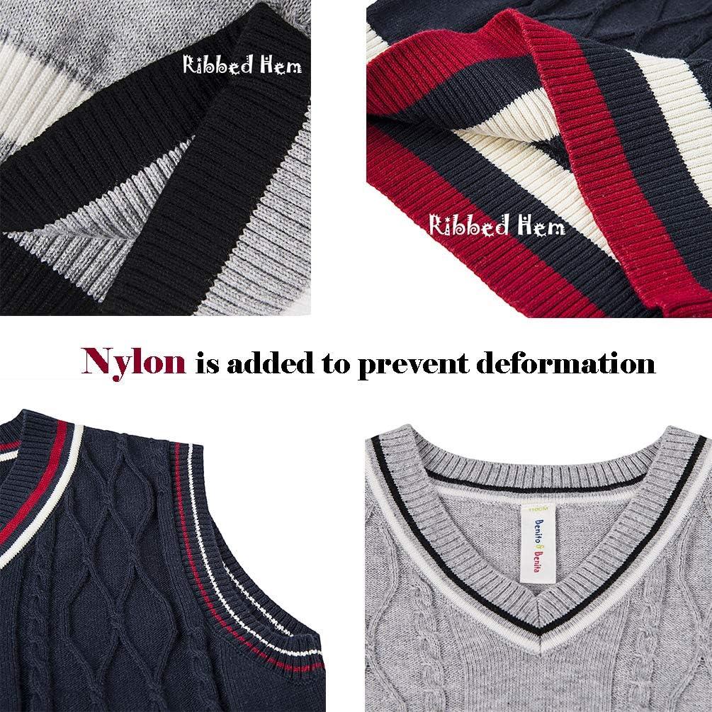 Benito /& Benita Boys V-Neck Argyle Sweater School Uniform Pullover Tops 100/% Cotton