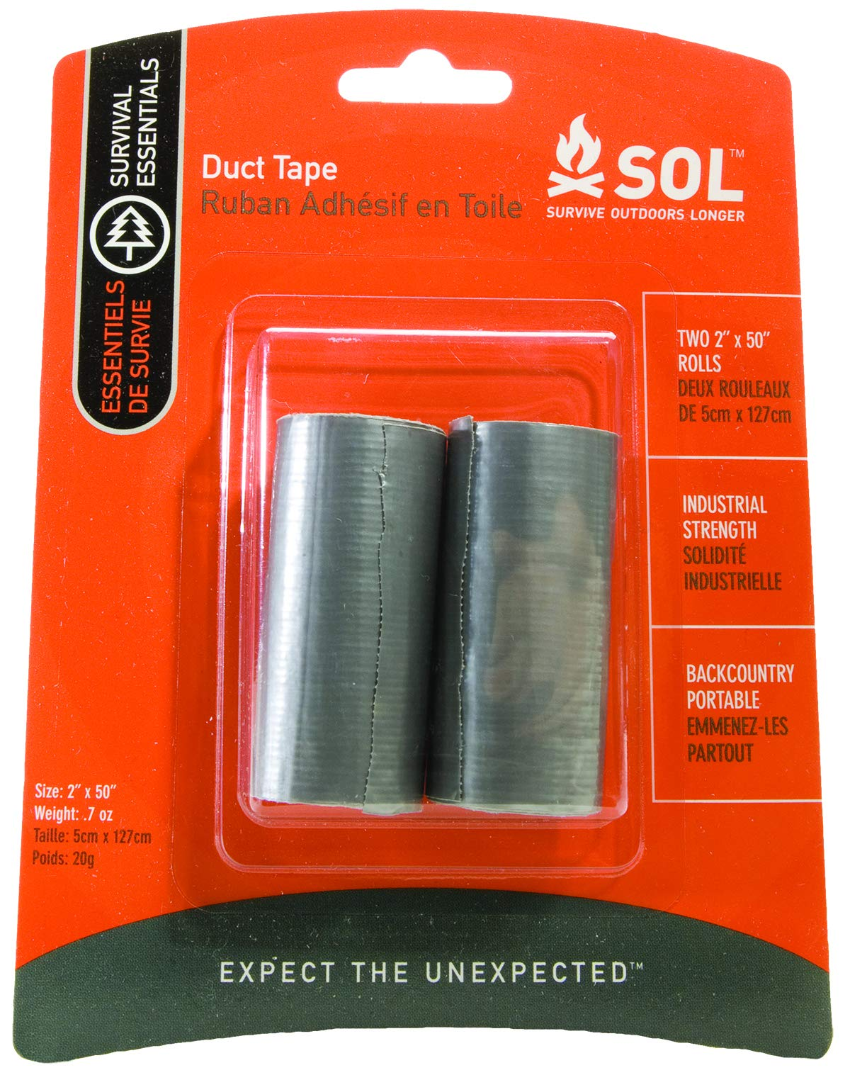 S.O.L. Survive Outdoors Longer 50'' Duct Tape, 4 Packs of 2 Rolls