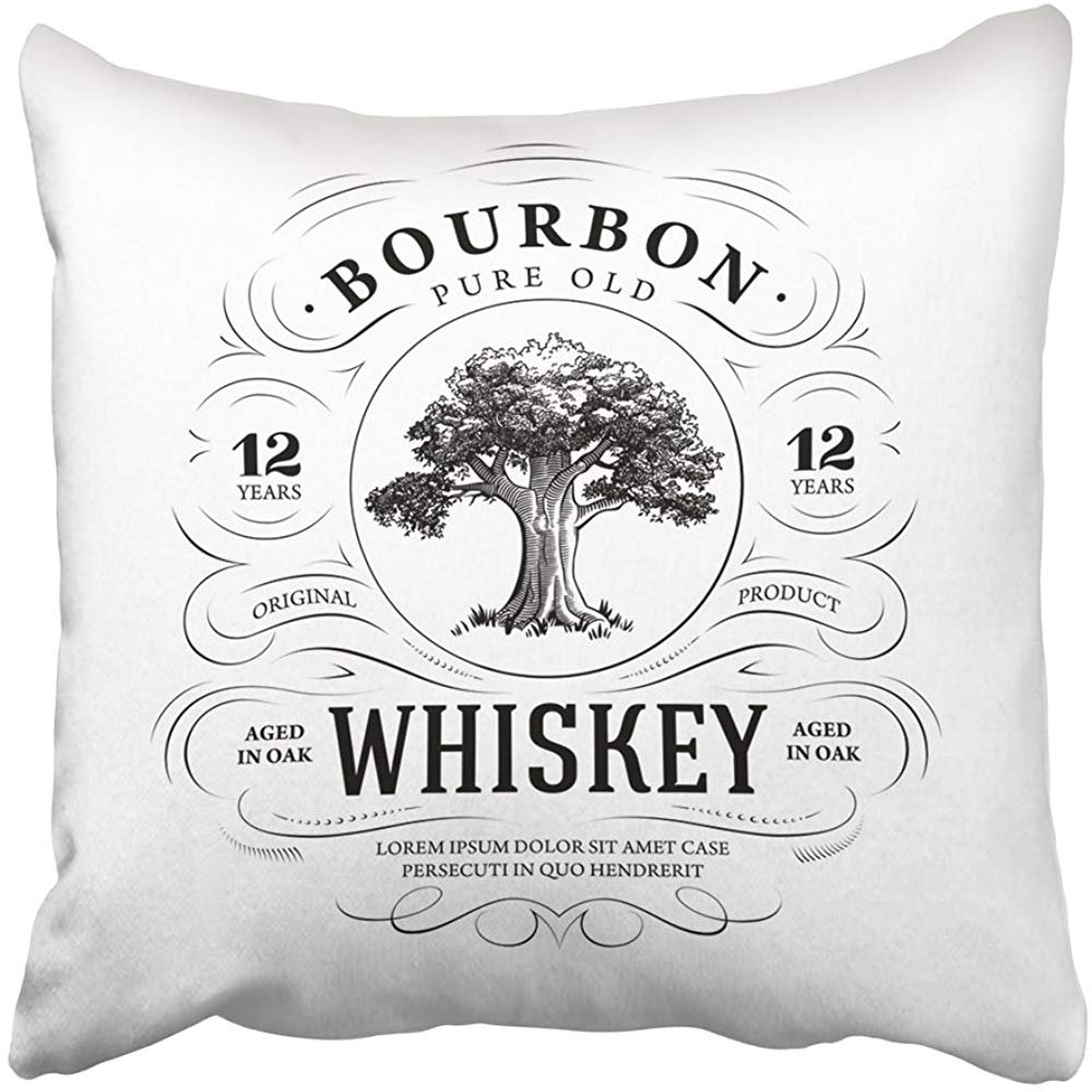 Throw Pillow Cover 18''X18'' Decorative Polyester Black Label Vintage Whiskey With Oak Tree Bourbon Alcohol Acorn Wood Nature Silhouette Pillowcase Print Two Sides Deco Home