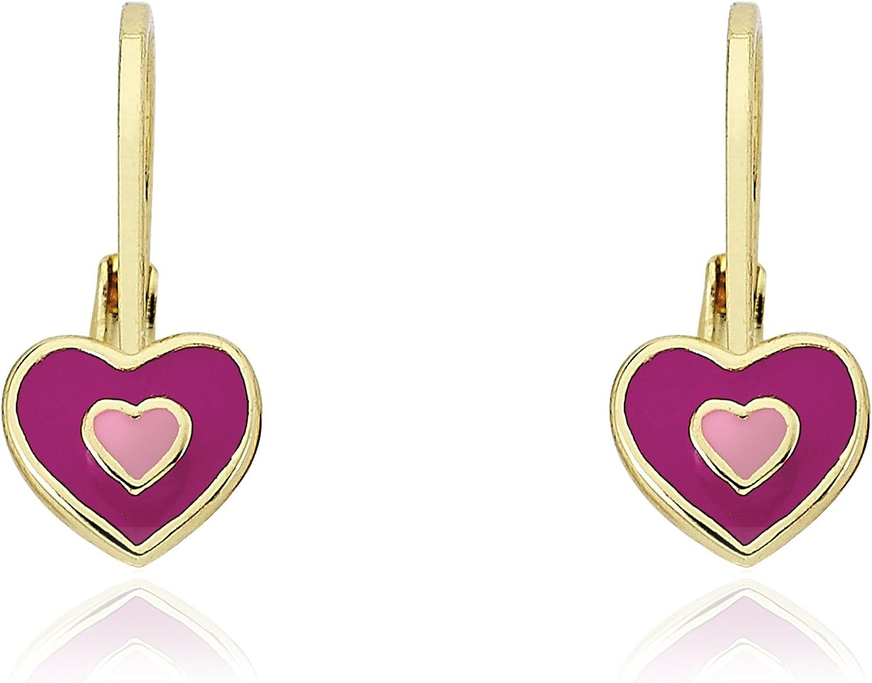 Little Miss Twin Stars Kids Earrings - 14k Gold Plated Earrings Enamel Heart Leverback Girls Earrings - Hypoallergenic and Nickel Free For Sensitive Ears