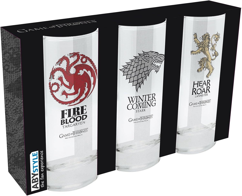ABYstyle Game of Thrones - Juego de 3 vasos altos (cristal, cristal, 3 unidades), diseño de Targaryen y Lannister: Amazon.es: Juguetes y juegos