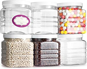 Pack of 6 - Clear Empty Plastic 48 Oz Storage Containers with Lids - Square Pantry Containers - Clear Jars with Air Tight Lids and Labels – BPA Free Plastic Jar - Paint Storage Containers