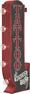 Tattoo Parlor Arrow Metal Marquee Sign With Large Led Lights, Red & Black, Double Sided, and 3 Dimensional, Wall Decor That Displays Off The Wall In The Home, Bar, Business, Garage, or Man Cave