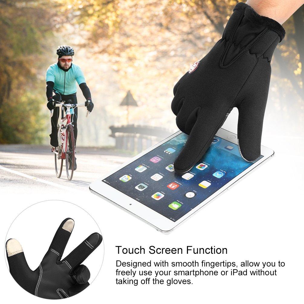 VBIGER Gants de Cyclisme Chaud Anti-dérapant pour Ecran Tactile de Tablettes et Smartphones, Noir, M