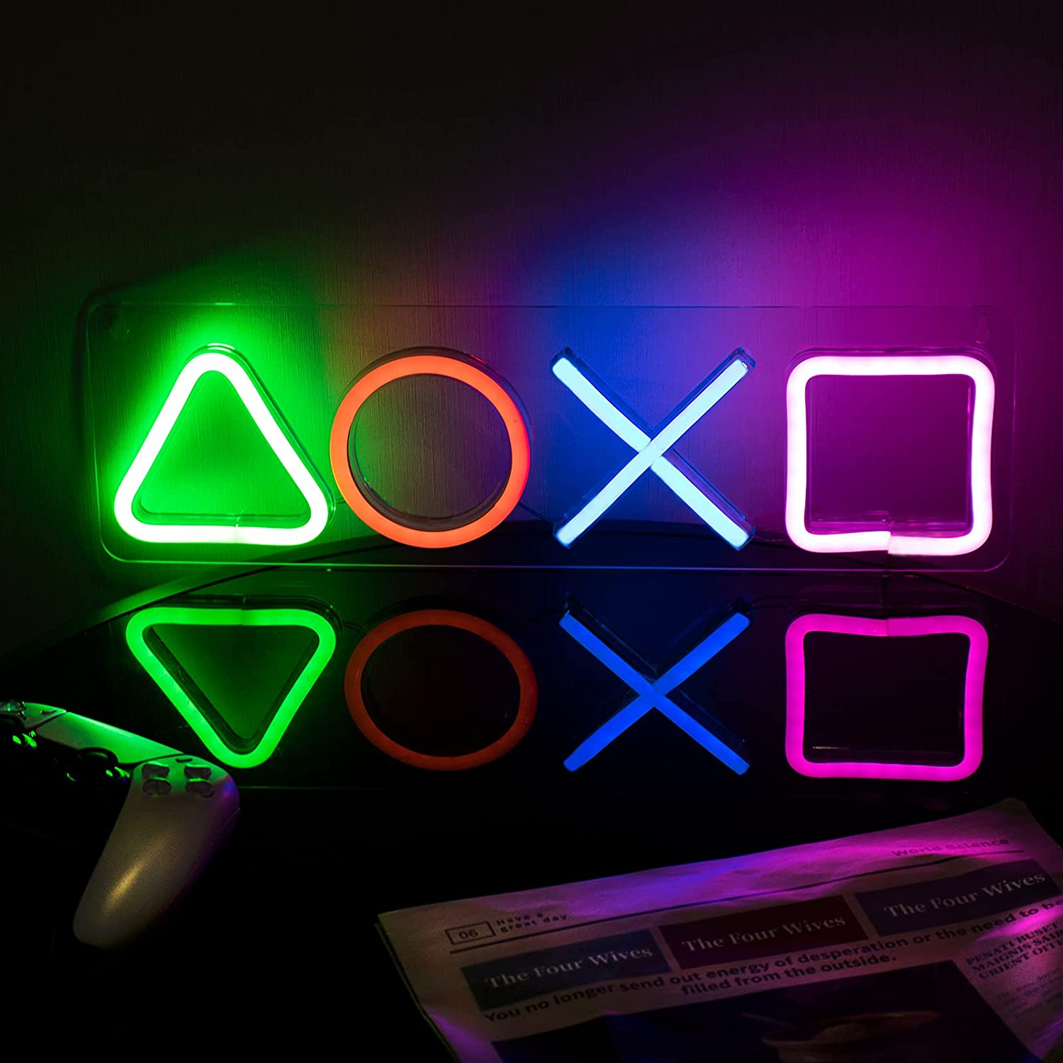 ifreelife Gaming Neon Signs(16.5''×4.96'') LED Gaming Neon Lights for Playstation Icon Bedroom Wall Decor Acrylic Board Led Light Signs for Game Room, Man Cave, Bar Club Decoration