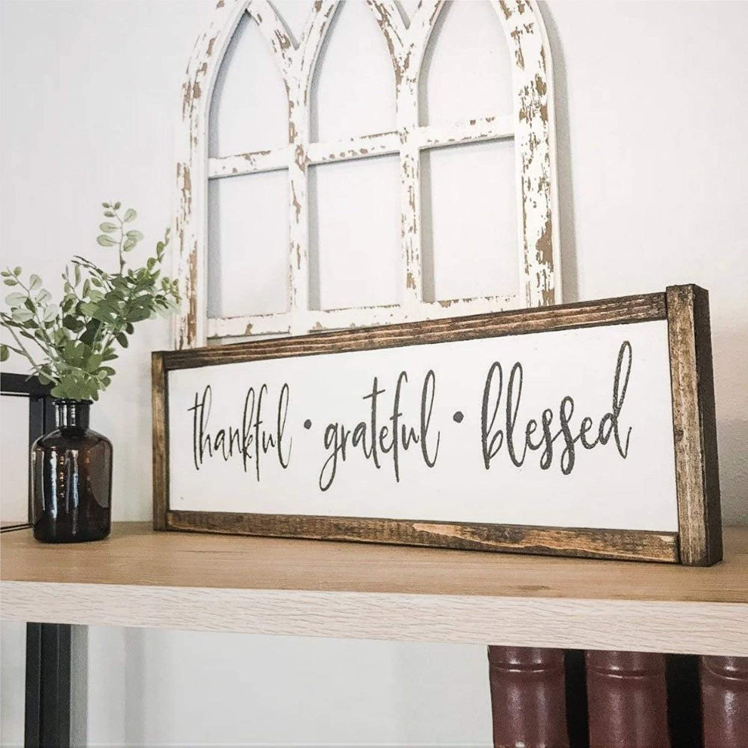 BYRON HOYLE Thankful Grateful Blessed Framed Wood Sign, Wooden Wall Hanging Art, Inspirational Farmhouse Wall Plaque, Rustic Home Decor for Nursery, Porch, Gallery Wall, Housewarming