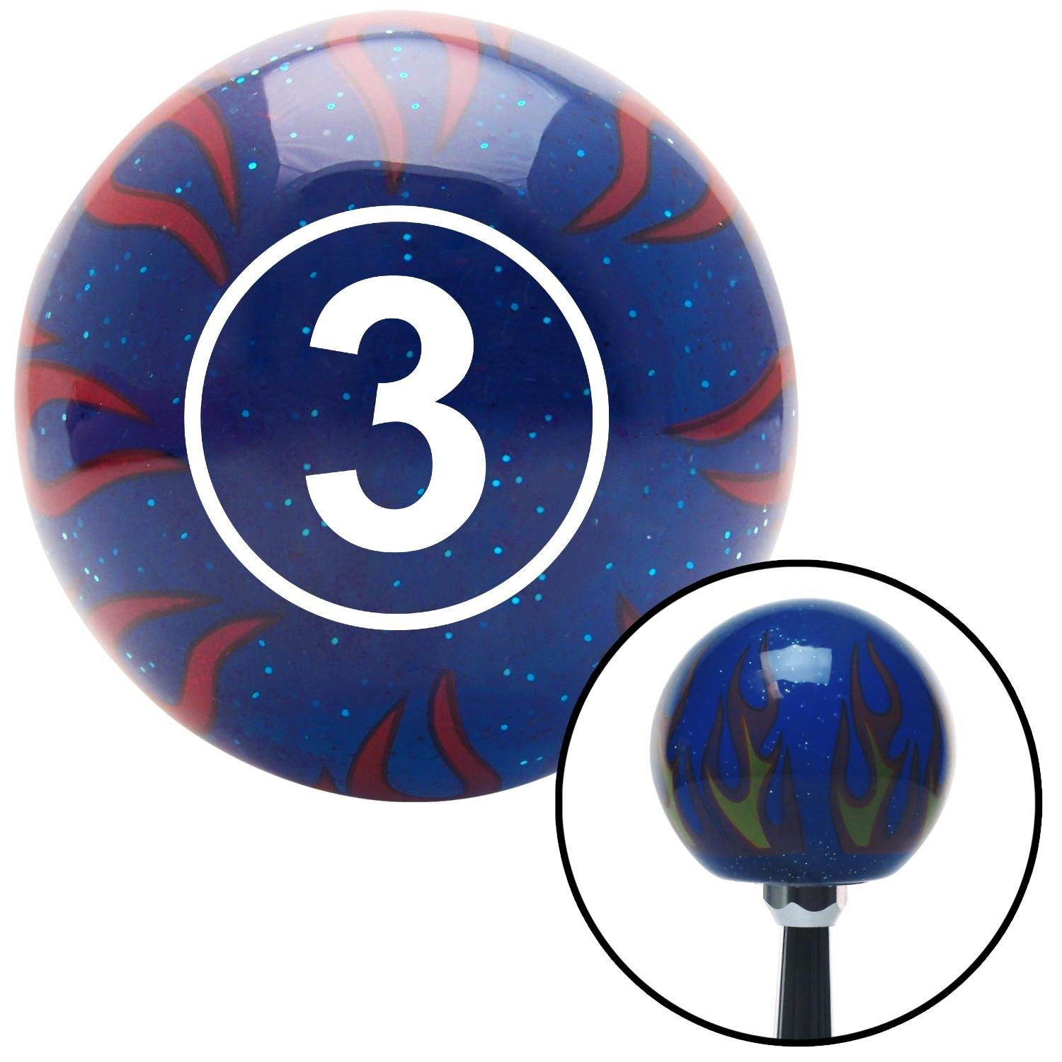White Ball #3 American Shifter 244529 Blue Flame Metal Flake Shift Knob with M16 x 1.5 Insert