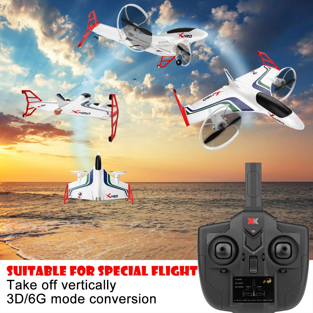 Hisoul X420 RC Airplane - 2.4G 6CH 3D/6G Aerobatic Vertical Take-Off Remote Control Glider - 340mm Wingspan Fixed-Wing RC Airplane, for Beginners Best Gift (♥ White) by Hisoul (Image #2)