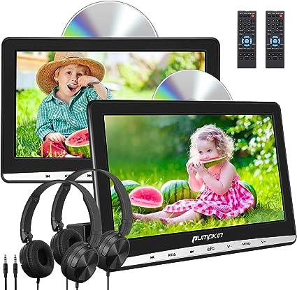 """Pumpkin Reproductor de DVD para Coche con 2 Pantalla, 10.1"""" HD Dos Reproductores para Reposacabezas de Coche, Viene con 2 Auriculares con Cable, soporta Tarjeta SD, USB para Niños en Viajes: Amazon.es: Electrónica"""