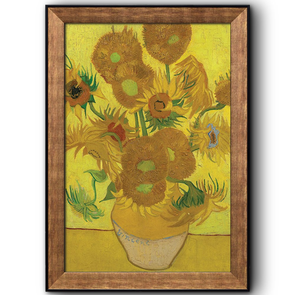 Vase with Fifteen Sunflowers by Vincent Van Gogh Wall Decor - Framed ...