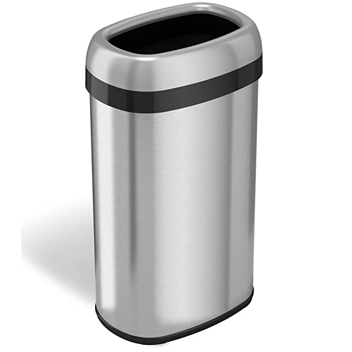 iTouchless Dual-Deodorizer Oval Open Top Trash Can and Recycle Bin, 16 Gallon Stainless Steel Commercial Grade, Large 12-Inch Opening, for Home, Restaurant, Restroom, Office, 61 Liter