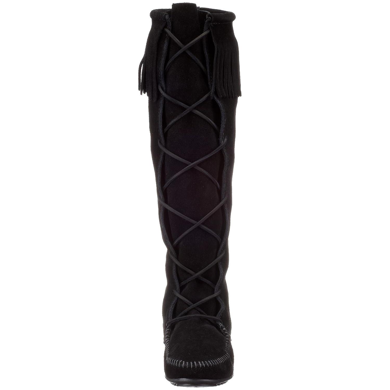 Minnetonka suede leather knee high tall lace up moccasin fringe boots - Amazon Com Minnetonka Women S 1429 Front Lace Knee High Boot Knee High
