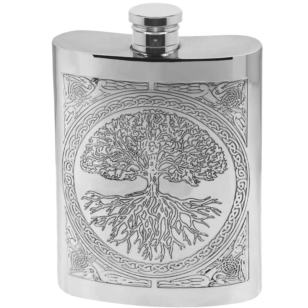 English Pewter Company Celtic Design Tree of Life 6oz Pewter Liquor Hip Flask [CEL601] by English Pewter Company Sheffield, England