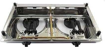 Solo Estufa de Gas NJ-60SD Estufa de Gas port/átil de 2 quemadores Cubierta de Cocina de Acero Inoxidable Doble 60cm LPG 7.7kW