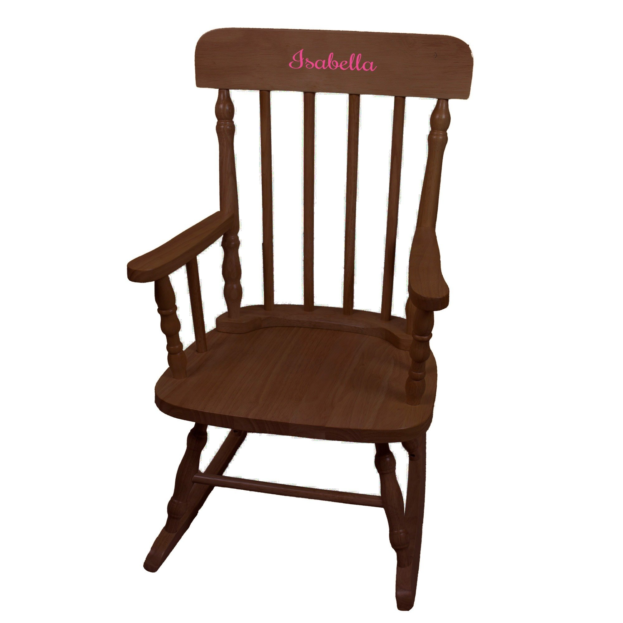 MyBambino Personalized Girls with name only Espresso Wooden Rocking Chair