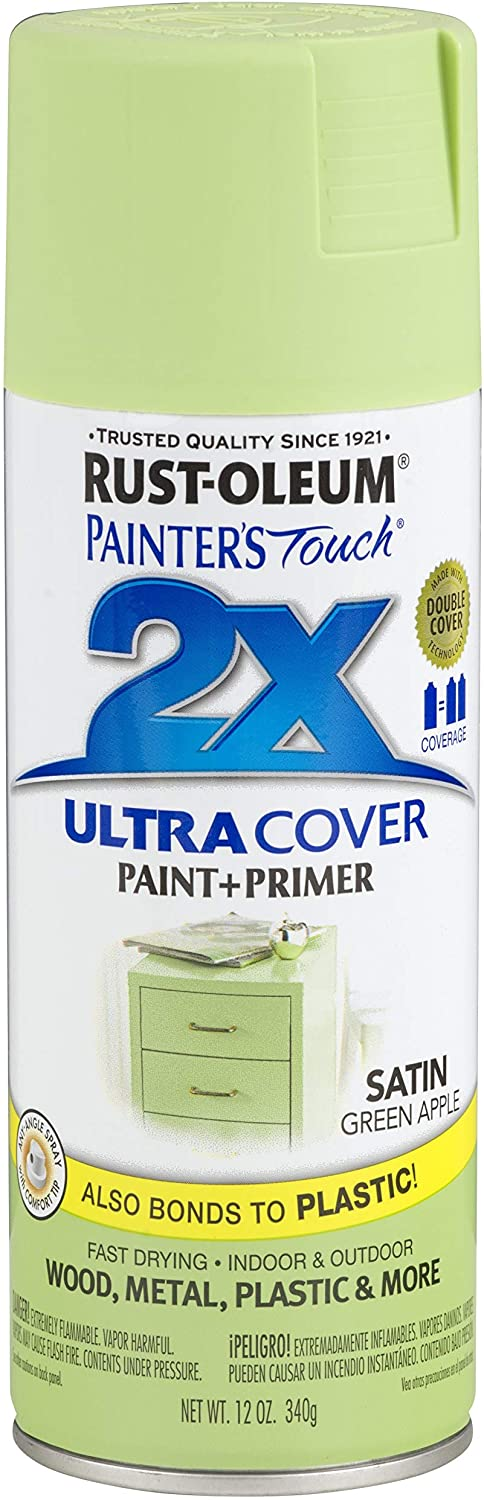 Rust-Oleum 249077 Painter's Touch 2X Ultra Cover, 12 Oz, Satin Green Apple