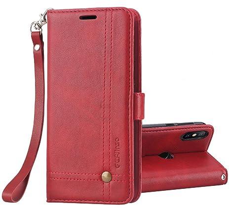 Ferilinso Funda Xiaomi Mi A2 Carcasa Cuero Retro Elegante con ID Tarjeta de Crédito Tragamonedas Soporte de Flip Cover Estuche de cierre magnético ...