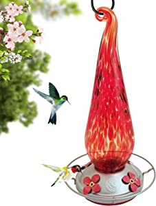 Grateful Gnome - Hummingbird Feeder - Hand Blown Glass - Fire Flame Flower - Additional Accessories Include S-Hook, Ant Moat, Brush and Hemp Rope Included