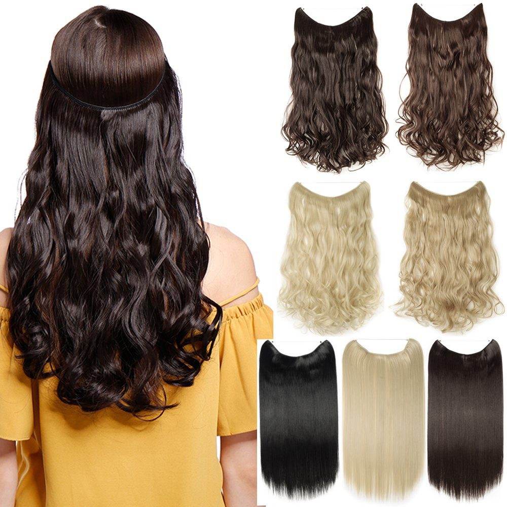 Hair Extensions 24 125G Invisible Wire No Clips in Full Head Hair Extension Secret Rubber Band Hairpieces Real Natural Human Made Synthetic Hair for Women medium brown(curly) S-noilite