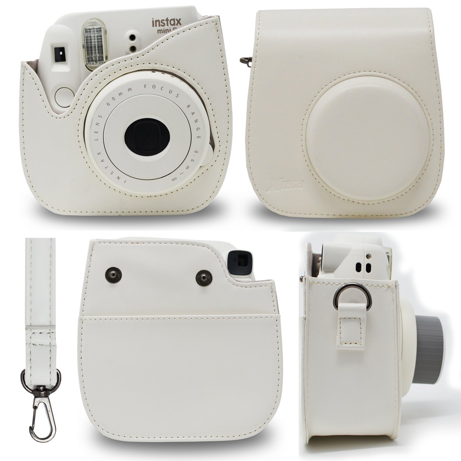 Fujifilm Instax Mini 9 Instant Fuji Camera SMOKEY WHITE (NEW 2017 Release) + Accessories Bundle + Custom Matching Case + Photo Album + Assorted Frames + 4 Color Filters + 60 Sticker Frames + MORE
