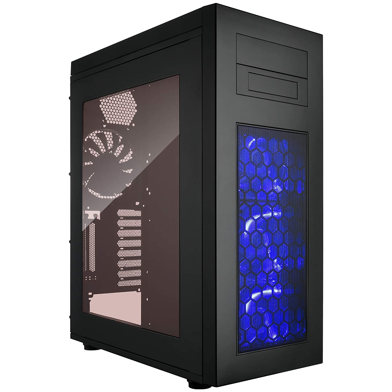Rosewill ATX Slim Full Tower Gaming Computer Case with Blue LED Front Fans Case Rise Glow Black