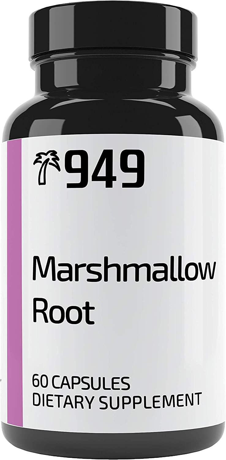 Marshmallow Root, Under 10 Dollars, 60 Capsules, Soothes Gastrointestinal System, Boosts Respiratory System, No Additives or Fillers, Lab-Tested, Made in USA, Satisfaction 100% Guaranteed, 949*