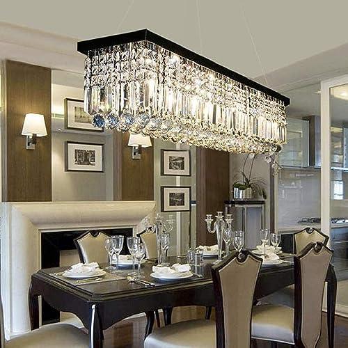 L39.5″ X W10″ X H10″ Modern Raindrop Style Rectangular Chandelier Lighting Clear Crystal Black Finish Base Pendant Hanging Light