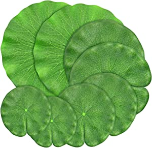 Fireboomoon 8 Pack Green Artificial Floating Foam Lotus Leaves,Water Lily Pads Foliage Pond Decor for Wedding Party Patio Garden Ponds Pool Aquarium Koi Fish Decorations