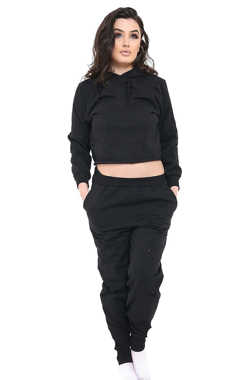 Friendz Trendz-Womens Distressed Laser Cut Hooded Joggers Loungewear Tracksuit