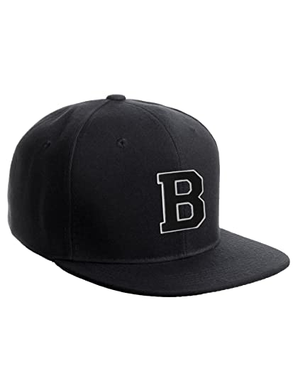 Classic Snapback Hat w Custom A-Z Initial Raised Letters - Black Hat White  Black Initial B 1562990e51d