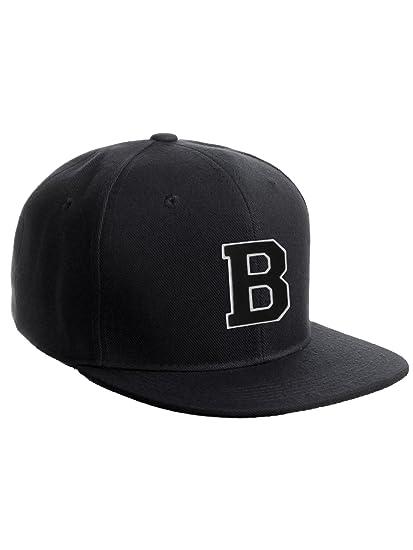 Classic Snapback Hat w Custom A-Z Initial Raised Letters - Black Hat White  Black Initial B 0711200f543