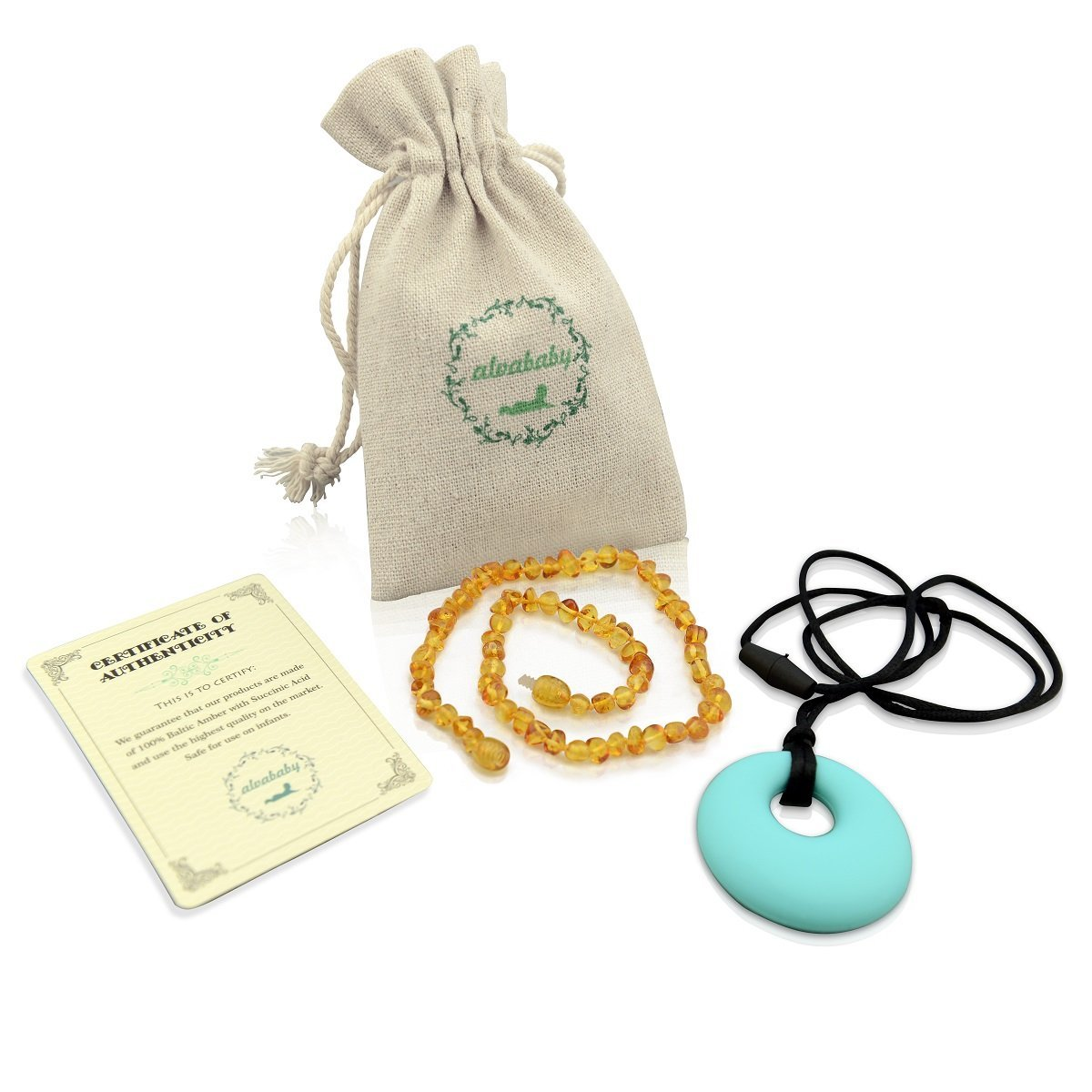 ALVABABY Amber Teething Necklace for Babies (Unisex) - Anti Flammatory Drooling & Fussiness Reduce Amber Teething Necklace + One Silicon Teething Necklace AN02 by ALVA