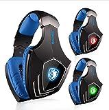 Auriculares Gaming de diadema , SADES A60 7.1 Sonido envolvente estéreo Cascos gaming USB con micrófono para PC Luz LED